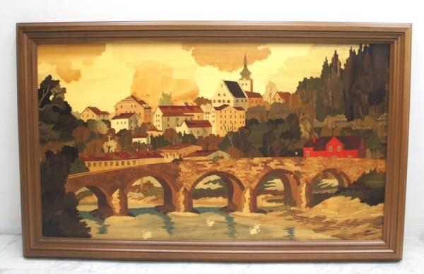 寄木細工 象嵌画 イタリア「Bridge」